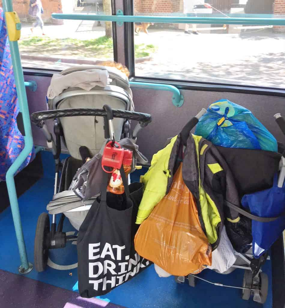 on the left joolz Geo on the bus bedise another pram