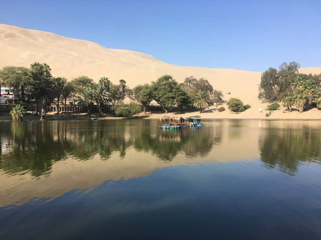 Huacachina oasis: here a view of the lagoon
