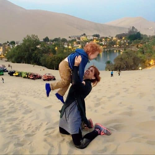 Huacachina Oasis with toddler